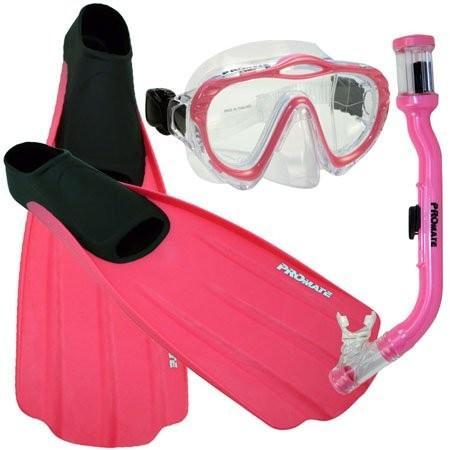 完売 Junior 3-5, XS Promate Junior Snorkeling Scuba Dive Mask Dry Snorkel Full Foot Fins Set for Kids, Pink, XS (Shoe: 3-5), 島原手延べ麺 本多兄弟商会 cf0192c4