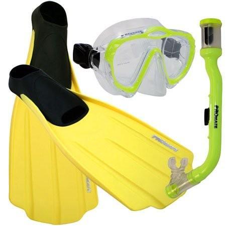 激安通販新作 Junior 3-5, XS Promate Junior Snorkeling Scuba Dive Mask Dry Snorkel Full Foot Fins Set for Kids, Yellow, XS (Shoe: 3-5), adidas Online Shop 66d61ece