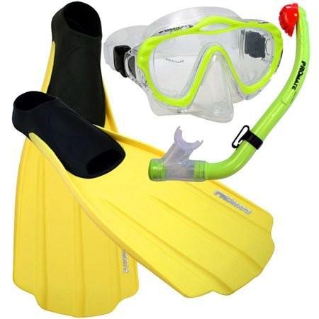 おすすめ Junior 1-3, XXS Promate Junior Snorkeling Scuba Diving Purge Mask Dry Snorkel Full Foot Fins Set for Kids, Yellow, XXS (Shoe: 1-3), T-World bfd55ddc