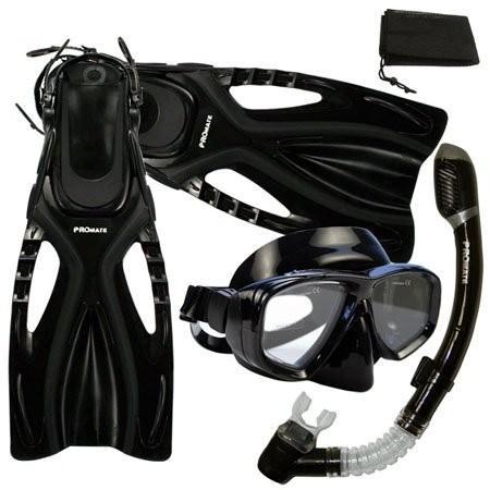正規激安 ML/XL(9-13) PROMATE Snorkeling Scuba Diving Mask Snorkel Fins Gear Set w/ Mesh Bag, Bk/Bk, ML/XL(9-13), MATFER shop d78821ab
