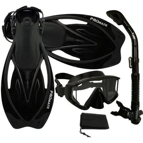 最高品質の S/M Set, (5-8 mens, 6-9 Snorkel wmns) S/M Promate Snorkeling Panoramic Mask Dry Snorkel Scuba Dive Fins Set, AllBlack, S/M, ヤマガタムラ:06b64598 --- airmodconsu.dominiotemporario.com