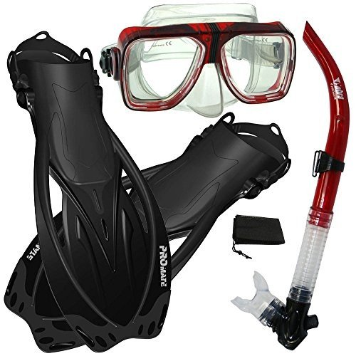 驚きの値段で ML/XL Promate Snorkeling Scuba Dive Snorkel Mask Fins Gear Set, RedBk, ML/XL, 勝央町 ff15767b