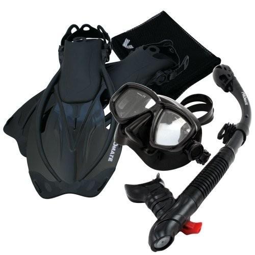 ML/XL Fins Promate Snorkeling Mask Dry Snorkel Fins Mesh Gear Bag Set 7590, ABk, MLXL