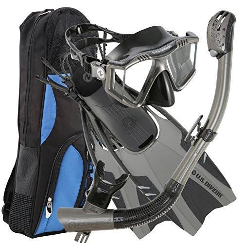 正規品販売! 253618 LG / XL (Men 9-13, Women 10-14) U.S. Divers Lux Platinum Snorkeling Set - Panoramic View Mask, Pivot Fins, GoPro Ready Dry, ラナイブルー e14aff2b