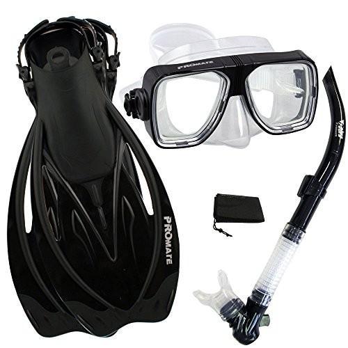 独創的 S/M Promate Snorkeling Scuba Dive Snorkel Mask Fins Gear Set, Black, S/M, ASTROPRODUCTS インターネット店 424daff9