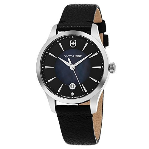 【保証書付】 241754 Victorinox Women's Alliance 17 Stainless Steel Black, Swiss-Quartz Watch Watch with Leather Strap, Black, 17 (Model: 241754), スーパーメガホームセンター ejoy:8d1e57dd --- airmodconsu.dominiotemporario.com