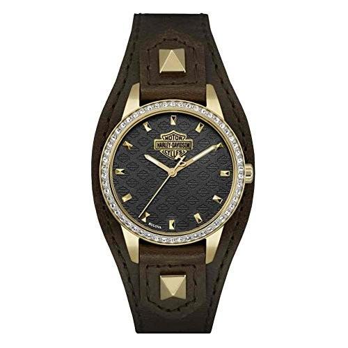 【★大感謝セール】 77L105 One Size Harley-Davidson Women's Crystal Embellished Brown/Gold One Shaped Cuff 77L105 Watch, Brown/Gold 77L105, ヤメグン:97af4df6 --- airmodconsu.dominiotemporario.com