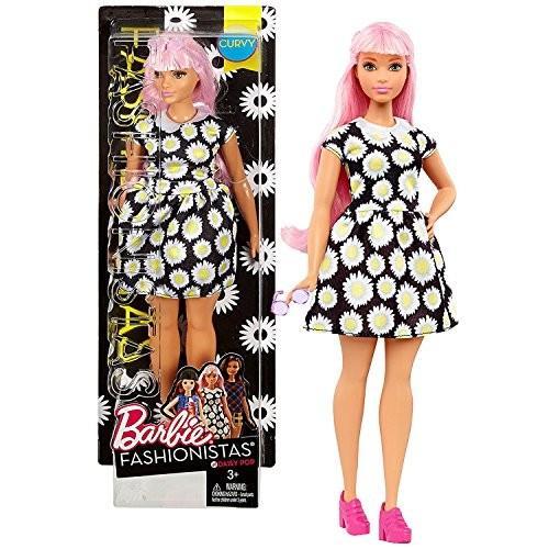バービーMattel Year 2016 Barbie Fashionistas 12 Inch Doll - Caucasian CURVY (DVX70) with Long ピンク Hair in Daisy Pop 黒 Dre