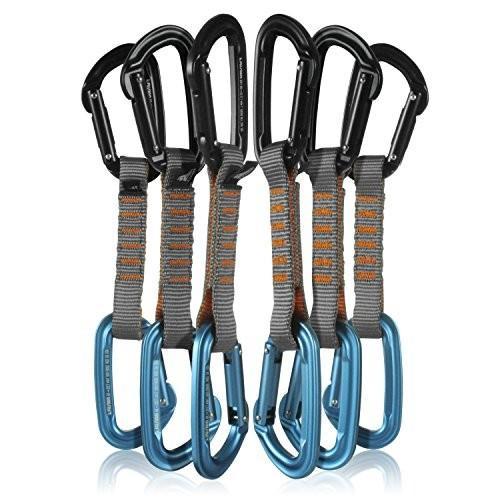 QDS11-9301-ST-BLU-9301-ST-BLK Fusion Climb 6-Pack 11cm Quickdraw Set with Contigua 青 Straight Gate Carabiner/Contigua 黒 Str