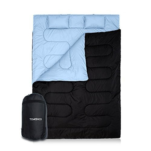 Y2671ASDAS Moderate Thickness TOMSHOO Double Sleeping Bag 2 Person Outdoor Camping Hiking Sleeping Bag Thin with 2 Pillows for Sum