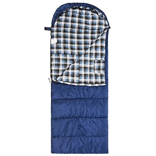 Extra Large 赤CAMP Cotton Flannel Sleeping Bag for Adults, XL 32F Comfortable, Envelope with Compression Sack 青 2lbs(95