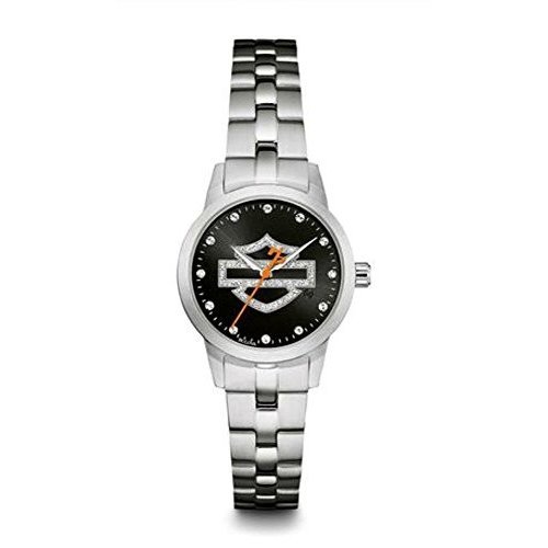 愛用 76L182 One Size Harley-Davidson Women's Stainless Glitter Steel Open Bar Harley-Davidson & Shield Watch, Stainless Steel 76L182, 店舗清掃コンシェルジュ:2c800632 --- airmodconsu.dominiotemporario.com