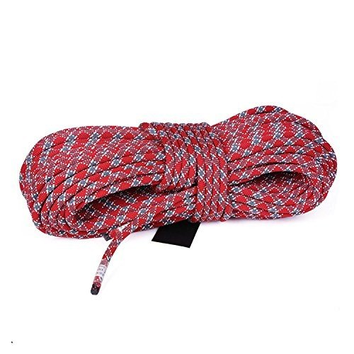 MaxS Climbing Auxiliary Rope Static Rope Safety Rescue Rope Diameter 10mm,(Red Length:10Meter)