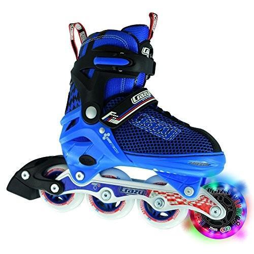 Large - Sizes 5-8 Crazy Skates Adjustable Inline Skates with Light Up Wheels - Roller Blades for Boys - Blue Large (Sizes 5-8)