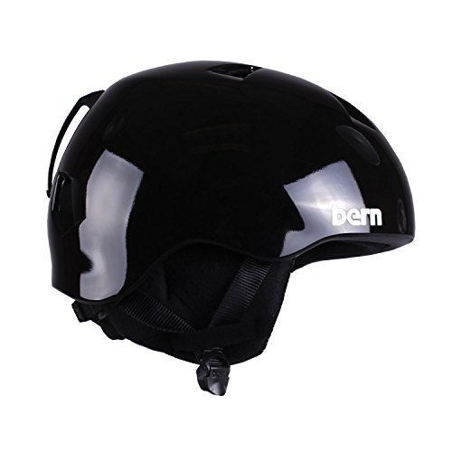 スノーボードBERN Nino Adjustable Helmet with 黒 Fleece (Gloss 黒, Small/Medium)