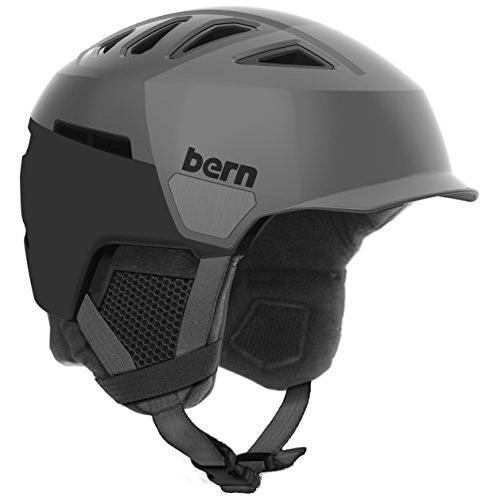 スノーボードBern Men's Heist Brim Helmet (Satin グレー Hatstyle with 黒 Liner, Large)