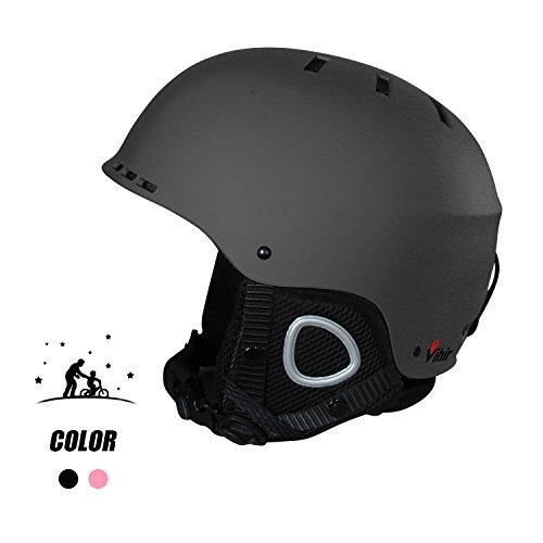Large Vihir Adult Winter Ski Snow Helmet 2-in-1 Convertible Sports Skateboard Helmet for Men Women, 黒, L