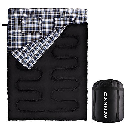 Queen Size XL CANWAY Double Sleeping Bag, Flannel Lightweight Waterproof 2 Person Sleeping Bag with 2 Pillows for Camping, Backpac