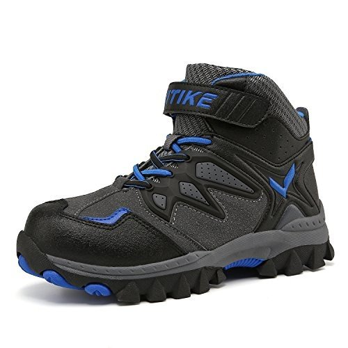 4.5 Big Kid Kids Snow Boots Boys Girls Winter Boots Outdoor Warm Snow Shoes Waterproof Hiking Boots Antiskid Steel Buckle Sole Gre