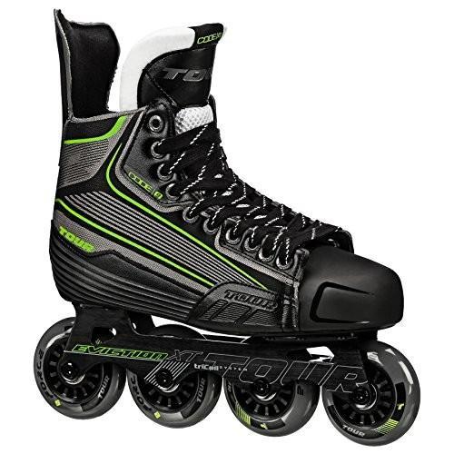 10 Tour Hockey Code 9 SR Inline Hockey Skate, Black/White/Red, 10