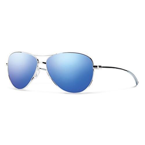 LANGLEY One Size Smith Optics Langley Sunglass, Carbonic 青 Flash Mirror Lens, 銀