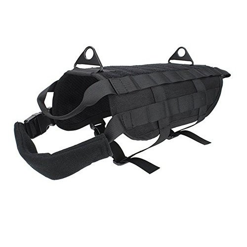M OSdream Tactical Dog Vest Training Molle Harness - MOLLE System with PALS Webbing (Black, M)