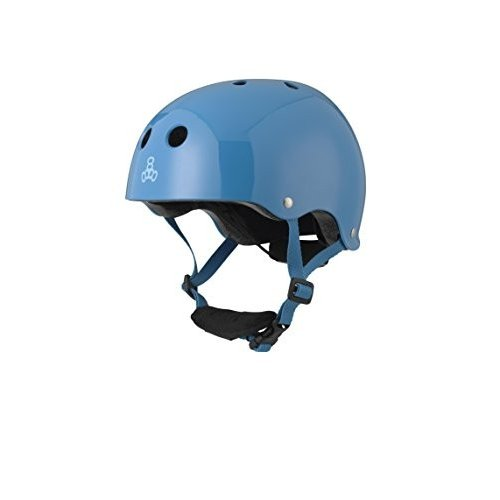 3928 5T Triple Eight Lil 8 Dual Certified Sweatsaver Kids Skateboard and Bike Helmet with Padded Chin Buckle, 青 Glossy