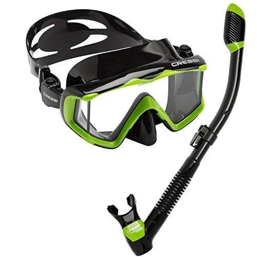 日本最級 LEPUSHPDJ6304 Cressi Panoramic Wide View Mask Dry Snorkel Set, Lime Green/Black Silicone, オートストック autostock 1aa0d172