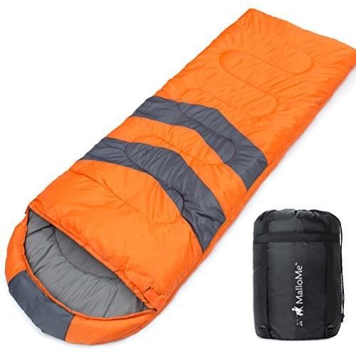 Single MalloMe Single Camping Sleeping Bag - 4 Season Warm Weather and Winer, Lightweight, Waterproof - Great for Adults & Kids -