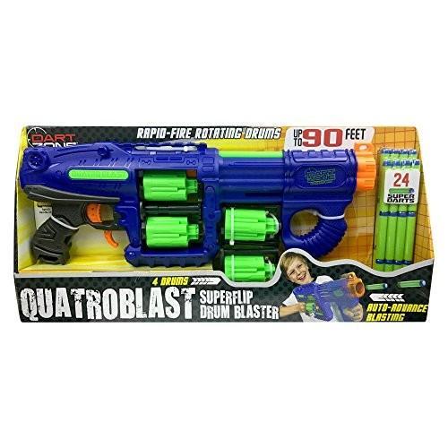 ダートゾーンDart Zone Quatroblast Superflip Quad-Drum Blaster Foam Dart Gun Toy