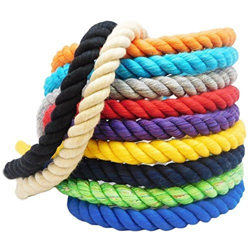 1/4 Inch x 10 Feet Ravenox Natural Twisted Cotton Rope | (赤 Glitter)(1/4 Inch x 10 Feet) | Made in The USA | Strong Triple-Stran