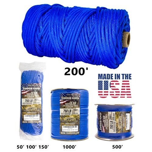 500Ft. (WOUND ON SPOOL) TOUGH-GRID 750lb Royal 青 Paracord/Parachute Cord - Genuine Mil Spec Type IV 750lb Paracord Used by The