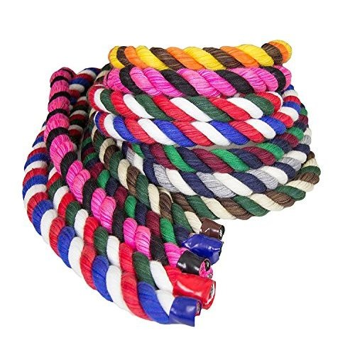 1/2 Inch x 50 Feet Ravenox Colorful Twisted Cotton Rope | Made in USA | (Lime, Gold & Purple)(1/2 in x 50 ft) | Custom Color Corda