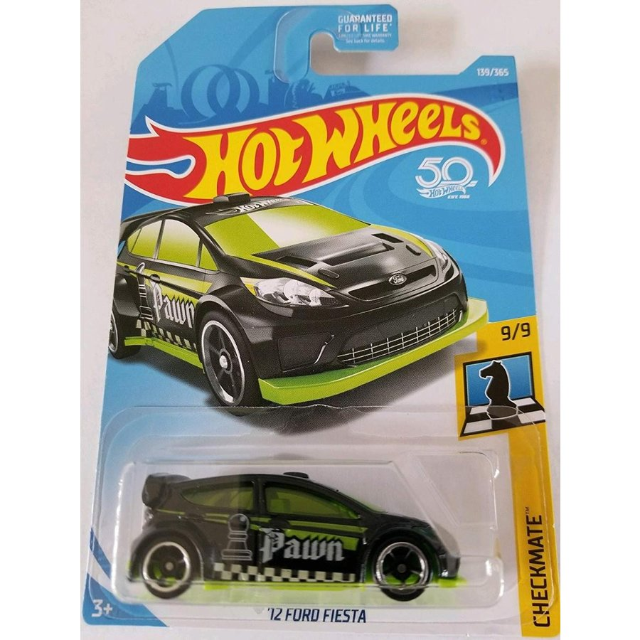 1:64 Scale Hot Wheels 2018 50th Anniversary Checkmate '12 Ford Fiesta 139/365, 黒