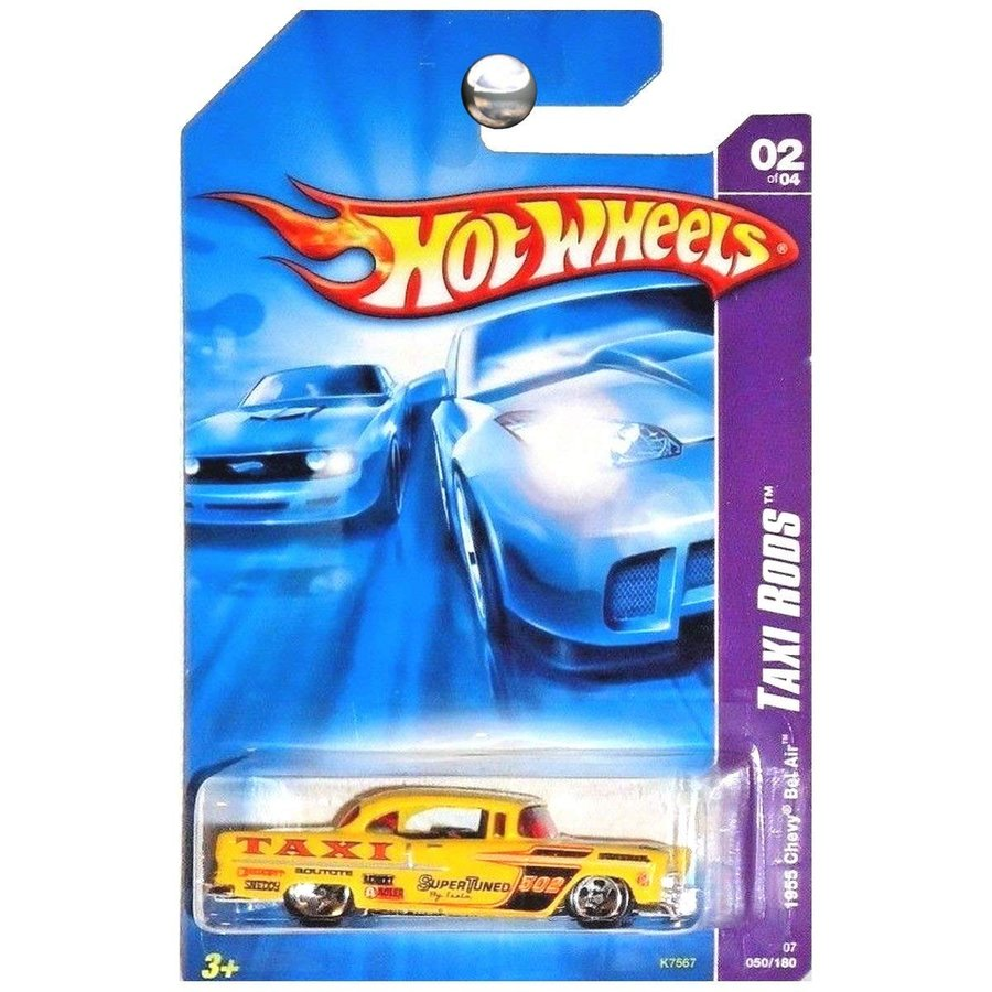 Mattel Hot Wheels 2007 New Models 1:64 Scale 黄 1955 Chevy Bel Air Taxi Rod Die Cast Car #050