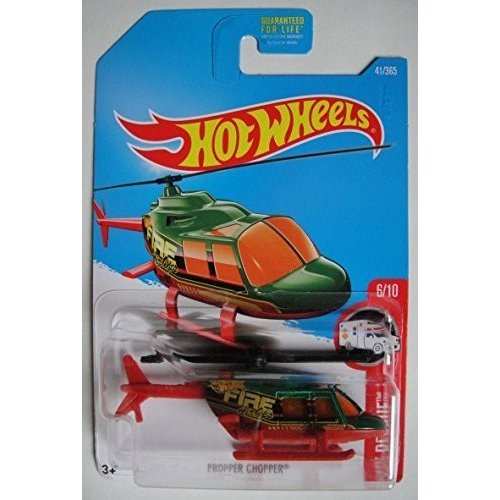 Hot Wheels 2017 HW Rescue, Propper Chopper Helicopter 41/365, 緑 and 赤