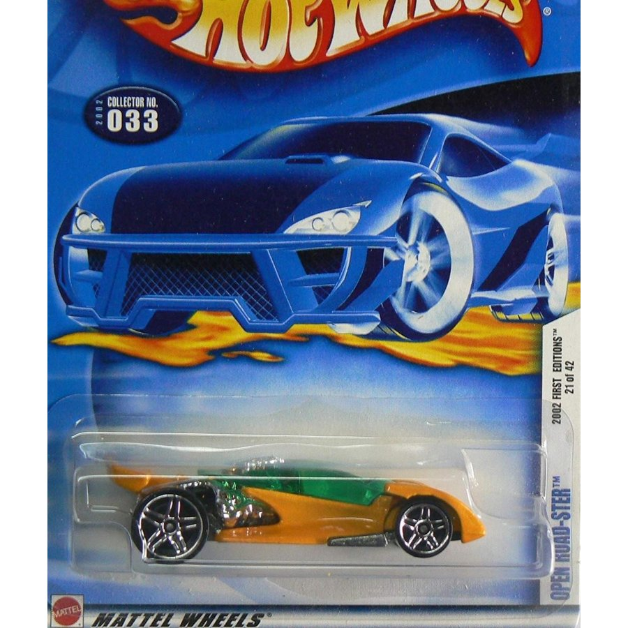 Mattel Hot Wheels 2002 1:64 Scale First Editions オレンジ & 緑 Open Road-Ster Die Cast Car #033