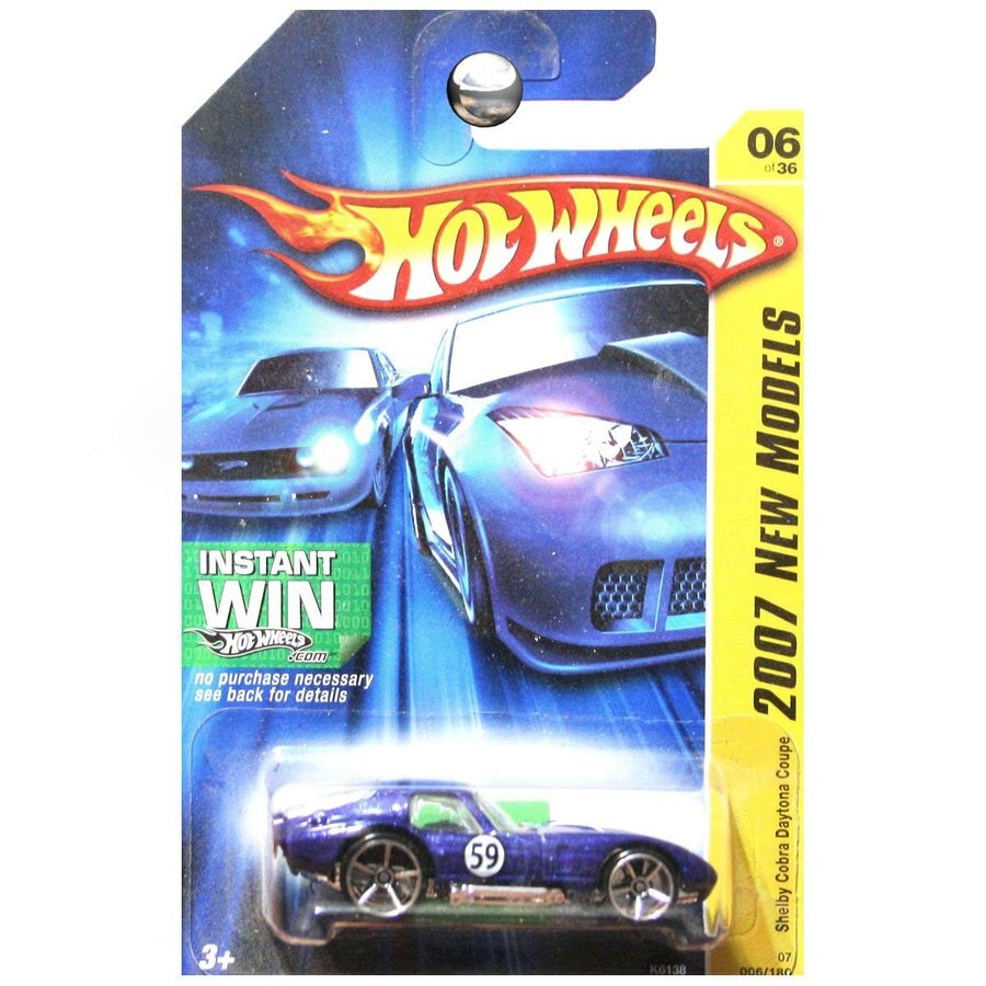 Hot Wheels 2007 New Models Shelby Cobra Daytona Coupe 青 with 白い Stripe Instant Win Card