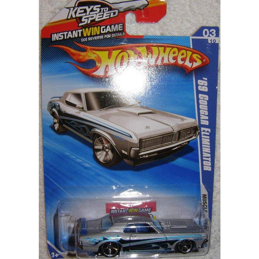2010 HOT WHEELS MUSCLE MANIA KEYS TO SPEED CARD 03/10 銀 '69 COUGAR ELIMINATOR