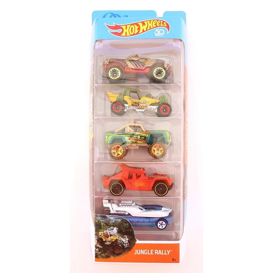 Hot Wheels 2018 Jungle Rally 50th Anniversary Edition 5-Pack ~ Dawgzilla, Mountain Mauler, Custom Ford Bronco, Bull Whip, Hover St