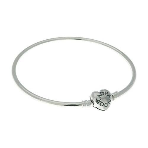 【特価】 PANDORA Bangle in Sterling Silver with Heart-Shaped Clasp. Size: 17cm/6.7 Inches - 596268-17, オフィストレンド fa02407a