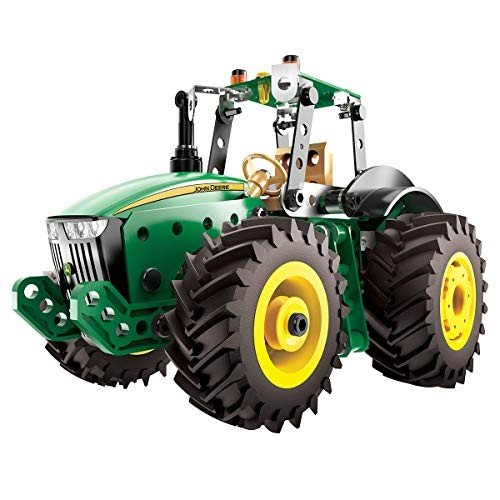 メカノMECCANO Erector John Deere 8R Tractor Building Kit with Working Wheels, STEM Engineering Education Toy for Ages 10 & Up