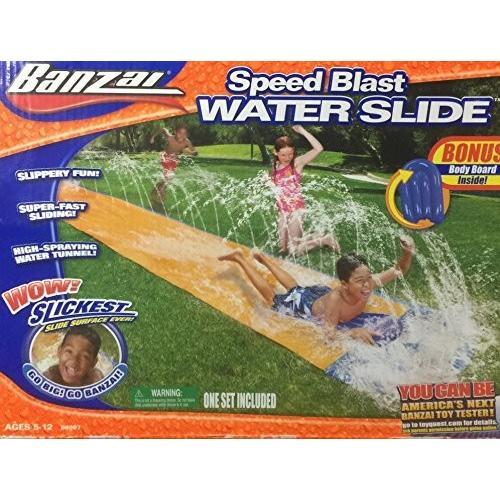 プールBanzai Speed Blast 16' Water Slide With Bonus Body Board