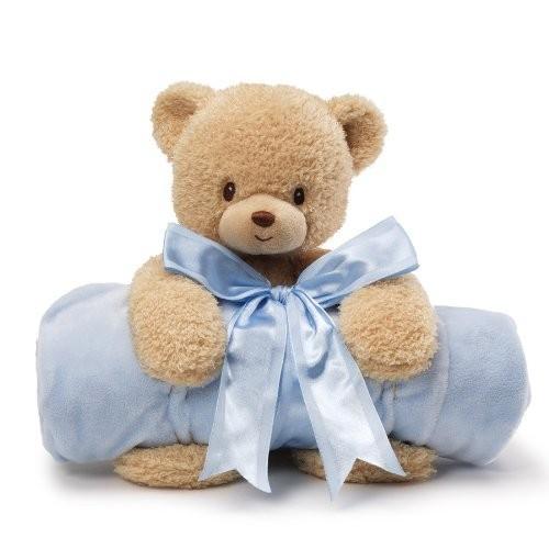 Gund Baby Blanket Set, Teddi Bear & 青 (Discontinued by Manufacturer)