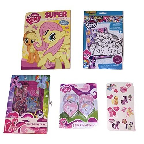 My Little Pony Bundle of 5 Activity Gift Set Items ~ It's Pony Time (Super Coloring and Activity Book with Stickers, Note Pads,