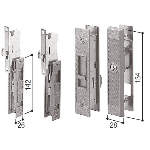 HHJ-0220 YKK 超安い KH-304 引戸錠セット2枚建用引き違い錠3点セット WESTキー3本付 メーカー直売