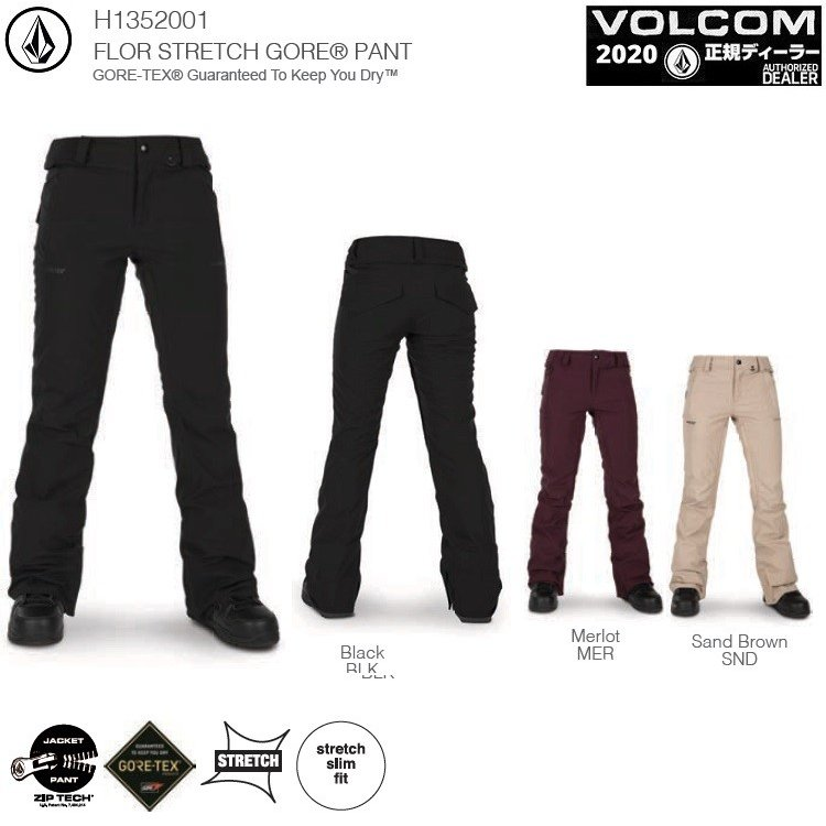 VOLCOM W's FLOR STRETCH GORE-TEX PANT 19-20【各カラー】/ボルコム レディスゴア パンツ GORE-TEX 2LAYER