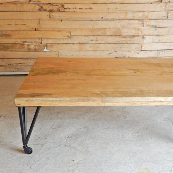 TOPANGA TOPANGA マンゴーウッドキャスター付きローテーブル W120xD75xH40cm