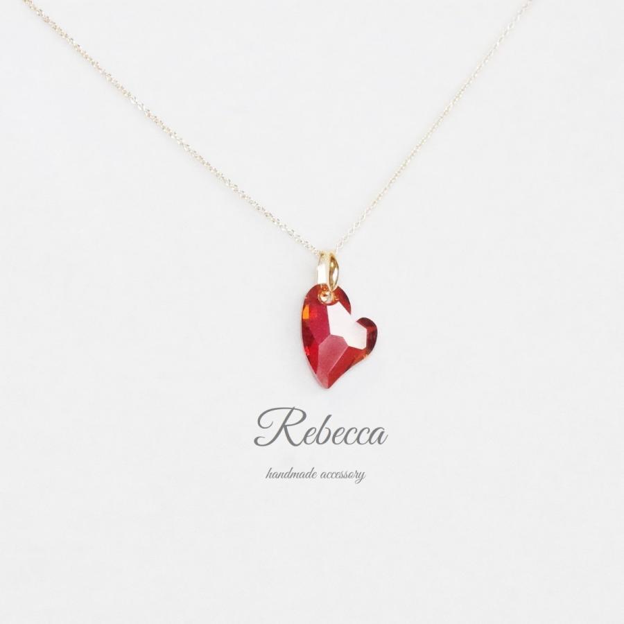ネックレス スワロフスキー ハート 赤色 長さ変更可能 極細チェーン 梅雨 夏|accessory-rebecca
