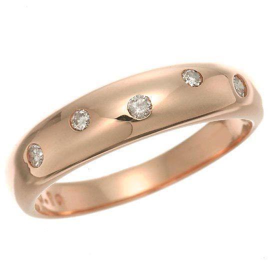 超美品 K18PG ピンクゴールド ダイヤモンドドット 水玉 甲丸リング 指輪 4月誕生石, ヤブヅカホンマチ 37b80697